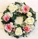 美流渡の森アーティフィシャルフラワー・リース(バラ、白・ピンク)