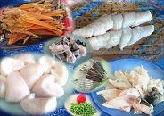 白子付き国産活本ふぐ(トラフグ)鍋用と干しきぬ貝