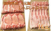 福岡県産4元豚のしゃぶしゃぶセット(豚ロース、豚バラ)1kg