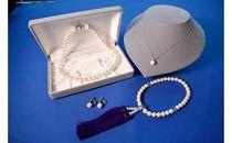 いずみパールネックレス・念珠4点セット (ホワイト) 簡易箱