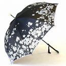絵おり晴雨兼用長傘 桜:黒