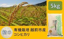 【精米】有機栽培越前市産コシヒカリ 5kg(有機JAS)