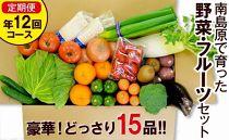 豪華!野菜セット定期便年12回【毎月コース】旬の野菜・フルーツ・キノコを15品目盛り合わせ!