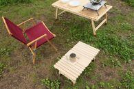 土佐ひのきの折りたたみキャンプテーブルKUROSONソロ