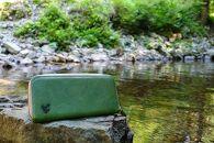 【ミシン仕上】和歌山日本鹿革の長財布 深森(緑色)