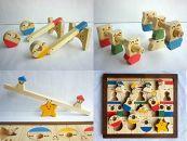 木のおもちゃ「コロポコ積木パズル(スペシャル)&三連カスタくん&脳活ディスクパズル(6枚)&スライドパズル&たまごキャッチくん」5点セット