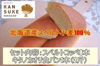 北海道産小麦100%希少なJAいわみざわ産キタノカオリ食パンと道産スペルト小麦コッぺパン詰め合わせ