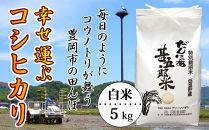 【新米・令和元年産】幸せ運ぶコシヒカリ(白米)5kg