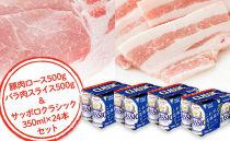 豚肉ロース&バラ肉スライス各500g&サッポロクラシック350ml×24本セット