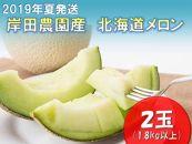 ★2019年夏発送★岸田農園産青肉メロン2玉入り(サイズ:1.8kg以上)【40セット限定】