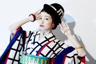 (Mサイズ)新進気鋭の着物デザイナー・重宗玉緒プレタ着物「幾何学格子小紋(アイボリー)」