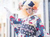 (Lサイズ)新進気鋭の着物デザイナー・重宗玉緒プレタ着物「鳩柄小紋(赤×青緑)」