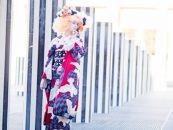 (Mサイズ)新進気鋭の着物デザイナー・重宗玉緒プレタ着物「鳩柄振袖(赤×青緑)」