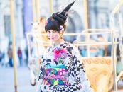 (Lサイズ)新進気鋭の着物デザイナー・重宗玉緒プレタ着物「鳩柄振袖(黒)」