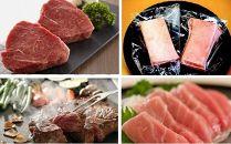 【佐伯 海と山の贅沢】佐伯産本マグロ&豊後牛A4ランク以上モモステーキ「頂」100g×4枚