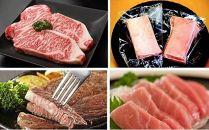 【佐伯 海と山の贅沢】佐伯産本マグロ&豊後牛A4ランク以上サーロインステーキ「頂」200g×2枚