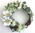 【ギフト用】美流渡の森アーティフィシャルフラワー・リースぶどうの蔓シリーズ(クリスマスローズ白)