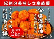 ■南高梅はちみつ味2kgと湯浅醤油2本[M1036-C]