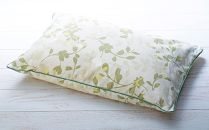 リーフ柄枕カバー付きパイプ枕 ソフティル 緑色