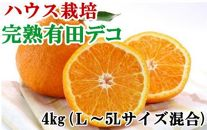 ■【ハウス栽培】完熟有田デコ(不知火)約4kg(L~5Lサイズ混合)[2020年3月~]【数量限定】