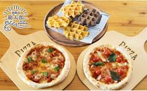 淡路島フルーツのワッフルと人気のピザセット