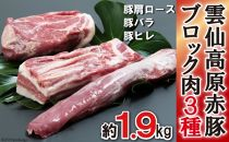 長崎県産雲仙高原赤豚ブロック肉3種約1900g