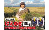平成30年産米庄内産はえぬき10kgと平田牧場三元豚「ご飯にかける生姜焼き」2個<庄内い~ものや>