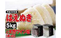 【平成30年産】庄内米「はえぬき」(精米)5kgと天然塩「ワイン塩(赤・白)」2本SI<庄内い~ものや>