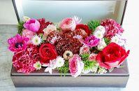 【母の日限定】八女の花を使ったフラワーボックスベアー(ブラウン)ギフト袋付き
