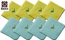 【ポイント交換専用】和泉木綿 四重織シャリ感ガーゼ(ミモザの花の刺繍入り) ハンカチ8枚セット
