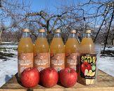 100%リンゴだけで作ったリンゴジュースサンふじ3本+王林2本ドライ加工リンゴ1袋セット