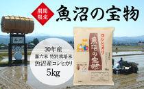 魚沼の宝物 30年産嘉六米特別栽培米魚沼産コシヒカリ5㎏