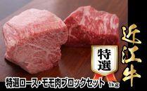近江牛特選ロース・モモ肉ブロックセット 1kg【500g×2】