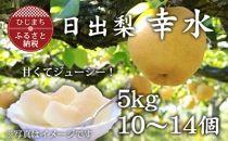 甘くて美味しい!日出産梨「幸水」【5kg箱10~14個】