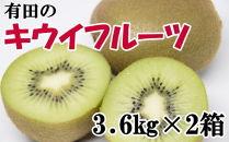 【人気】有田産キウイフルーツ約3.6kg×2箱(サイズおまかせ)