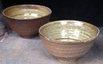 信楽焼焼締+緑釉飯茶碗ペアセット【2019年9月下旬以降お届け】