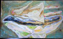 キャンバス地・油彩画「baththb」200×400mm