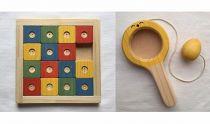 【ギフト用】木のおもちゃ「コロポコ積木パズル(スペシャル)&歯がため&スプーン&昇りワンニャン&脳活ディスクパズル(6枚)&スライドパズル&たまごキャッチくん」7点セット