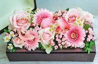 八女のお花を使ったおしゃれボックスアレンジメント