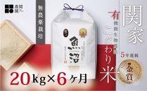 【頒布会】5年連続金賞無農薬栽培米20㎏×全6回最上級関家のこだわり米