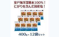 AK009 室戸海洋深層水100%の国産塩!「天海(あまみ)の平釜塩」400g×12袋セット