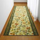 日本製廊下カーペット65cm×240cm【オリエンタル更紗】滑り止め加工(グリーン)