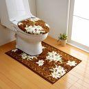 日本製トイレマットトイレふたカバー(洗浄・暖房便座用)[2点セット]65cm×115cm【ユリ柄】滑り止め加工(ブラウン)