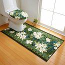 日本製トイレマットトイレふたカバー(洗浄・暖房便座用)[2点セット]80cm×130cm【ユリ柄】滑り止め加工(グリーン)