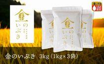 【令和元年産】金のいぶき玄米3kg(1kg×3袋)