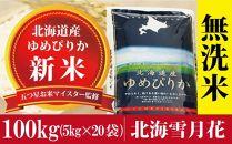 令和元年産新米!【無洗米】北海道岩見沢産ゆめぴりか100kg※一括発送