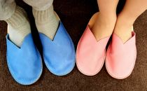 手づくり靴教室オリジナル本革スリッパS水色