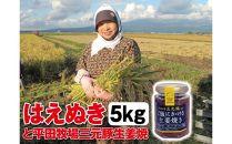 令和元年産米「はえぬき<精米>」5kgと平田牧場三元豚「ご飯にかける生姜焼き」1個SI<庄内い~ものや>