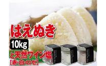 令和元年産米庄内米はえぬき<精米>10kgと天然塩3本SI<庄内い~ものや>
