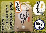《定期便》【低農薬】『こしひかり』5kg×6ヵ月